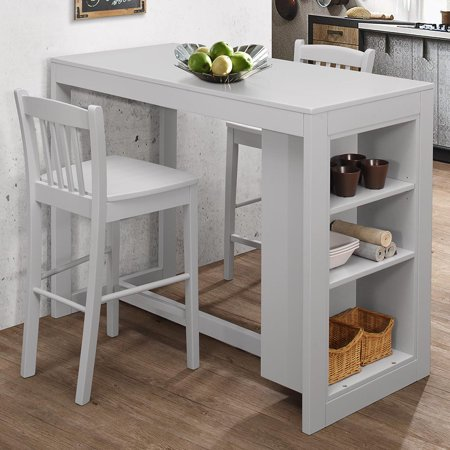 Jofran Tribeca Counter Height Dining Table w/Shelving in Ash Grey (Ash Veneer Dining Table)