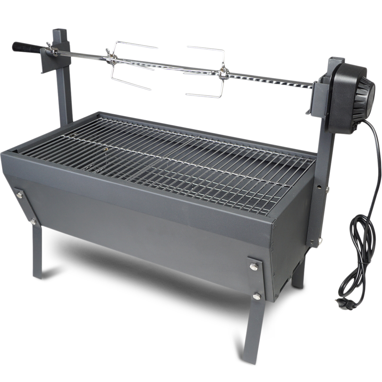 "Small Rotisserie Chicken Roaster Grill 28"" Spit Rod Stainless Steel Charcoal BBQ"