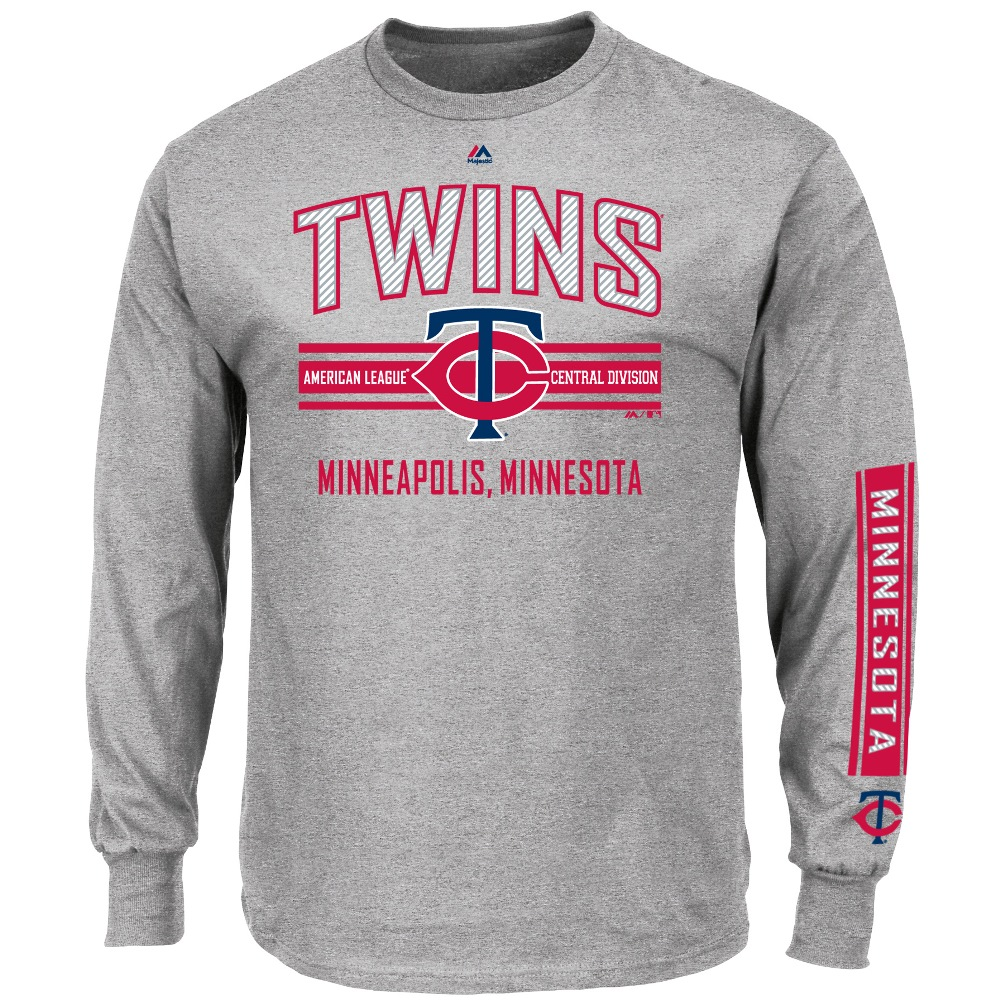"Minnesota Twins Majestic MLB ""1st to 3rd"" Long Sleeve T-Shirt - Gray"