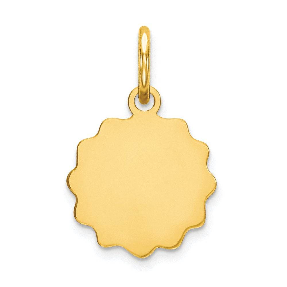 14k Yellow Gold 0.013 Gauge Engravable Scalloped Disc Charm (0.6in long x 0.4in wide)