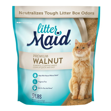 Littermaid Natural Premium Walnut Clumping Cat Litter, 9-lb