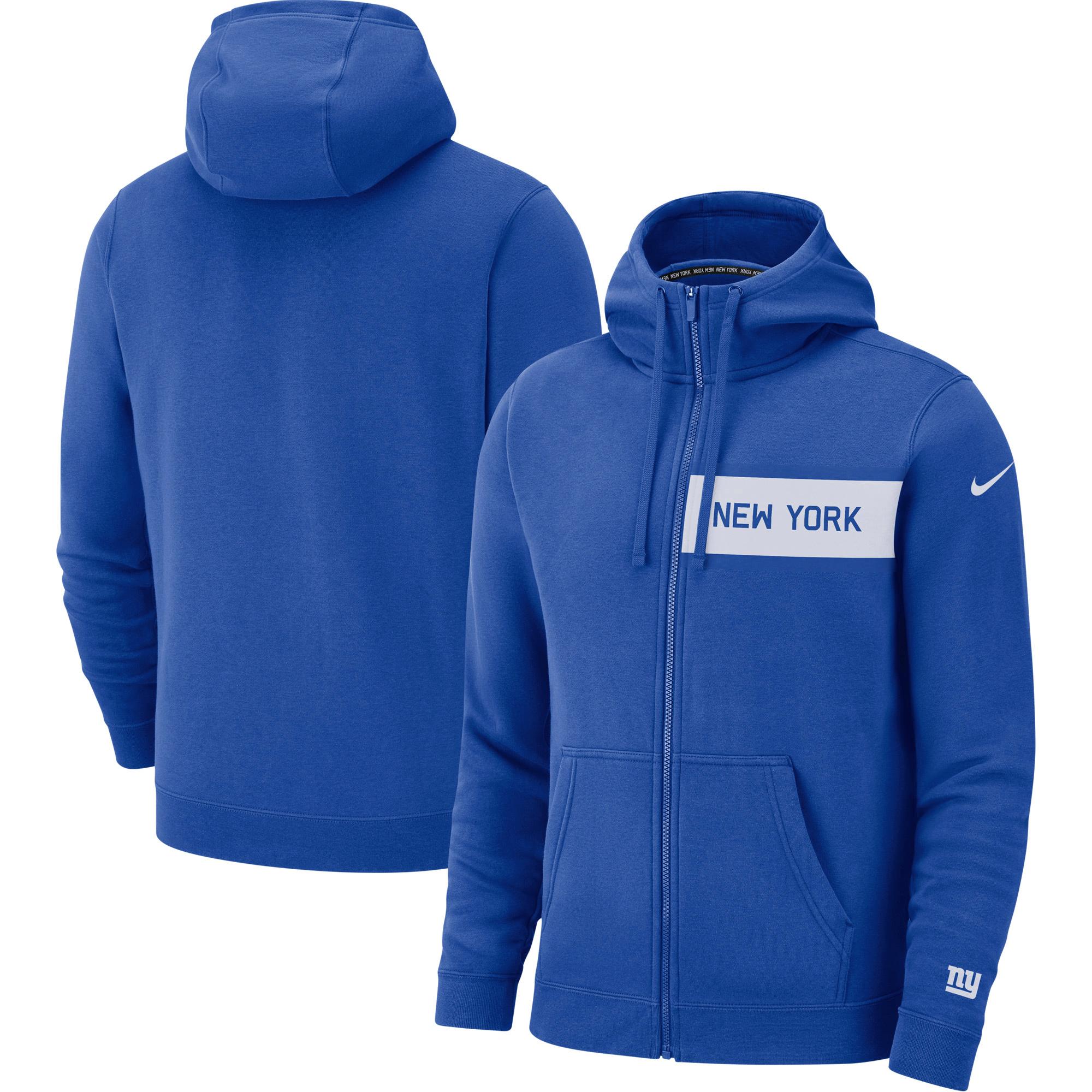 New York Giants Nike Fan Gear Club Full-Zip Hoodie - Royal
