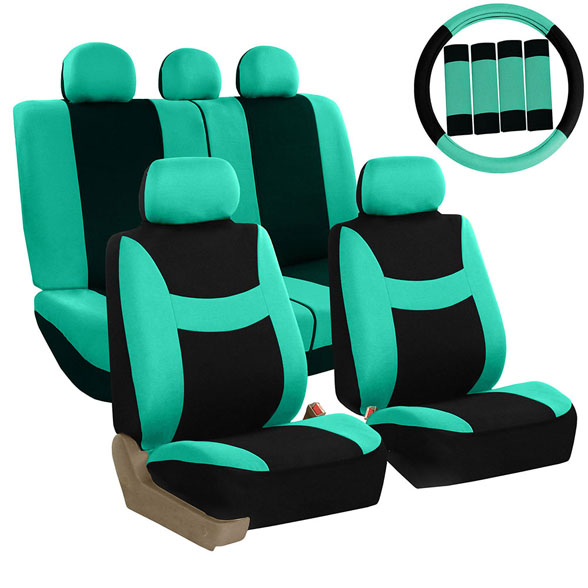 FH Group Light & Breezy Mint and Black Auto Accessories Set, with Steering Wheel Cover and Seat Belt Pads, Airbag Compatible and Split Bench Full Set Seat Covers