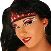 Hooked Xotic Eyes Silver Red Glitter Eye Paint Sexy Pirate Costume Accessory