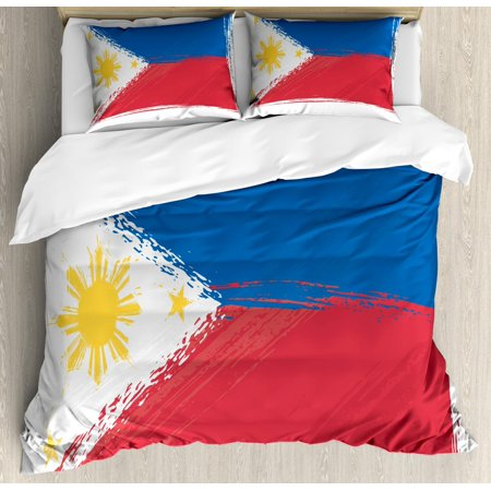 Filipino Duvet Cover Set Queen Size, Artistic Brush Stroke Style Grungy Philippines National Flag Print, Decorative 3 Piece Bedding Set with 2 Pillow Shams, Cobalt Blue Yellow Red, by