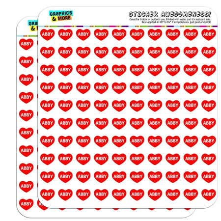 """I Love Heart - Name - Abby - 1/2"""" (0.5"""") Scrapbooking Crafting Stickers"""