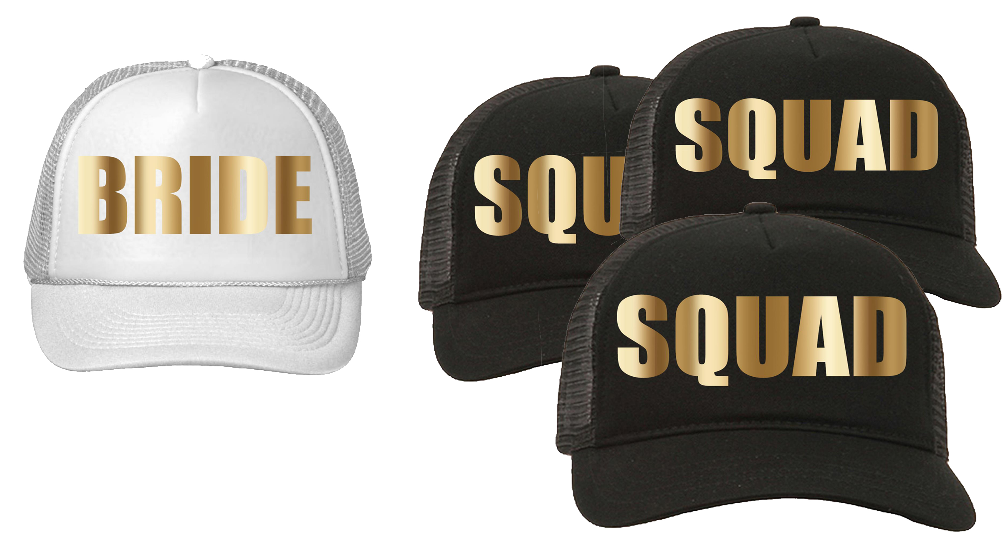 Trucker Hat Squad Bachelorette Party Wedding (4-Pack) 3-Black for the Squad 1-White  for the Bride - Walmart.com a2fd2267199a
