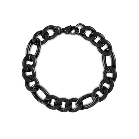 Black IP Stainless Steel Polished Figaro Chain Bracelet (11mm) -