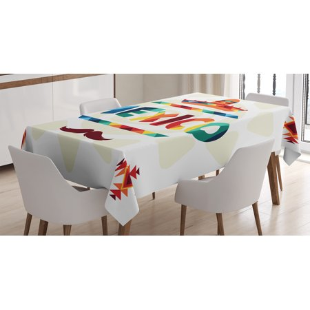 Mexican Decorations Tablecloth, Mexico Traditional Aztec Motifs and Sombrero Straw Hat Moustache Graphic, Rectangular Table Cover for Dining Room Kitchen, 52 X 70 Inches, Multi, by Ambesonne