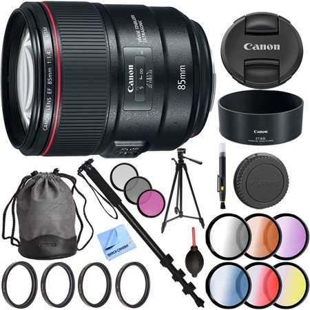 Canon 85mm f/1.4L IS USM Fixed Prime DSLR Camera Lens with 77mm UV, Polarizer, FLD, Close-Up, and Graduated Color Filter Sets Plus Pro Monopod and Tripod