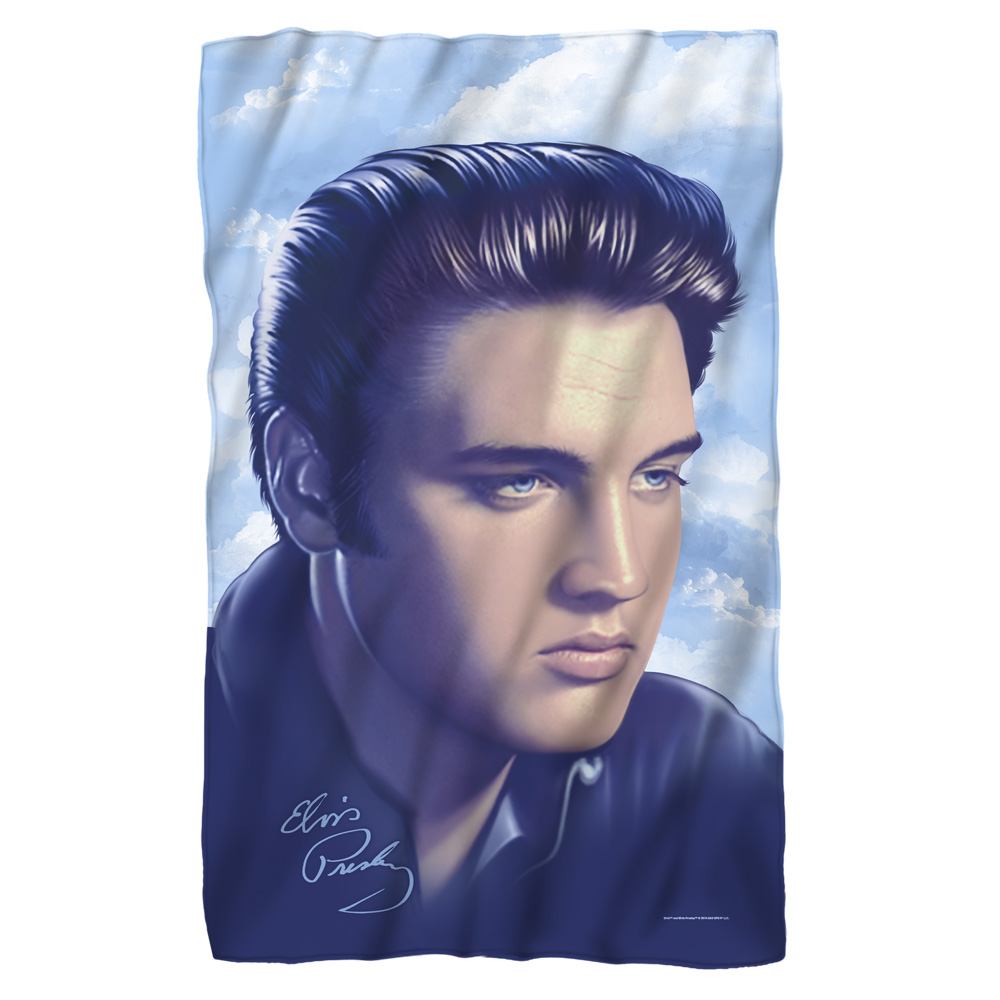Trevco Elvis Big Portrait Fleece Blanket White 48X80