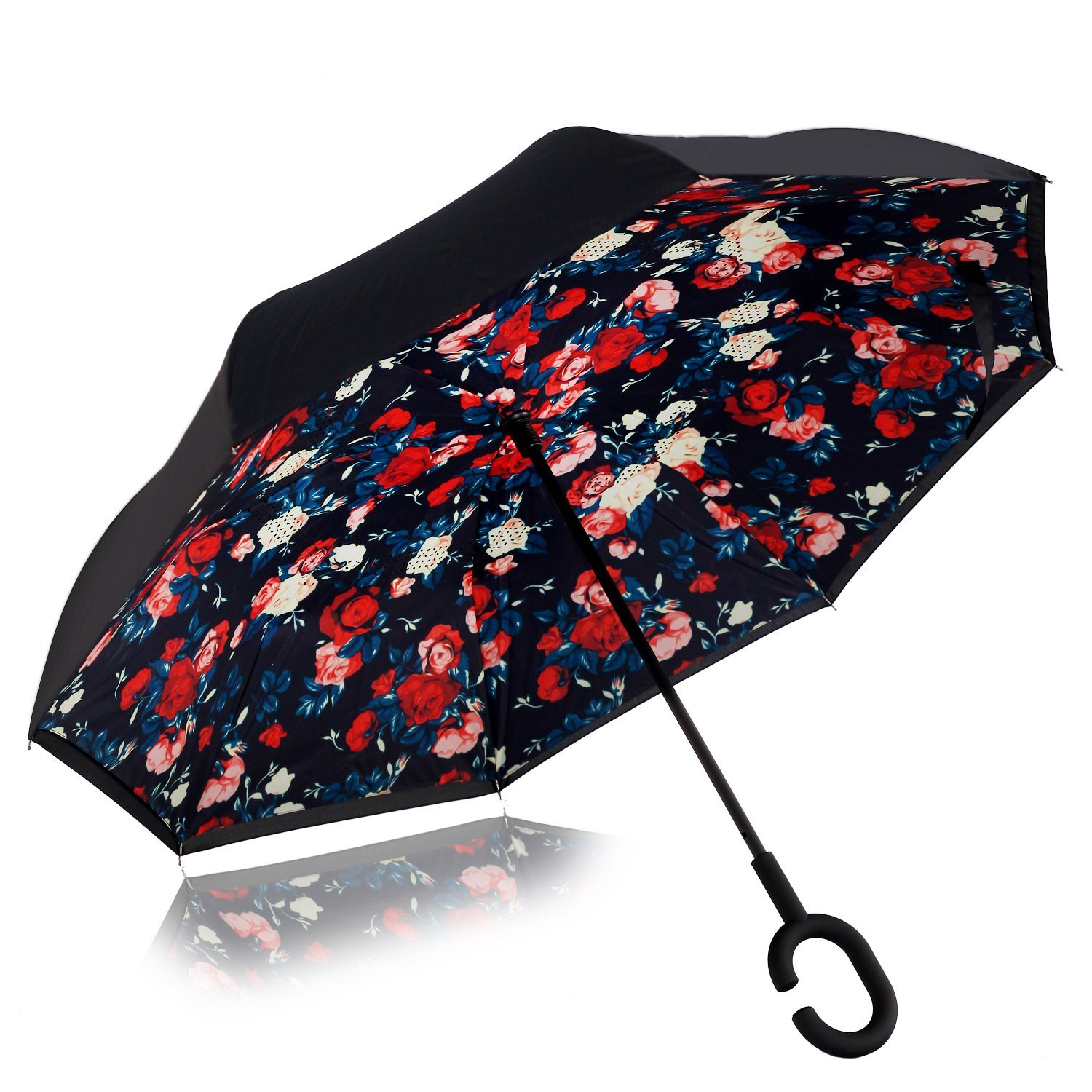 Inverted Umbrella,Double Layer Reverse Umbrella for Car and Outdoor Use by Monstleo, Windproof UV Protection Big Straight Umbrella With C-Shaped Handle and Carrying Bag