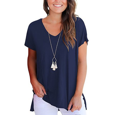 Short Sleeve T Shirt For Women V Neck Side Split Casual Blouse Ladies Loose Solid Tunics Tops Tee Shirt (Split Neck Shirt)