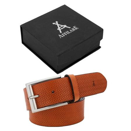 Affilare Men's Genuine Italian Leather Dress Belt 40mm Tan 12CFTD582TN (Tan Skinny Belt Men)