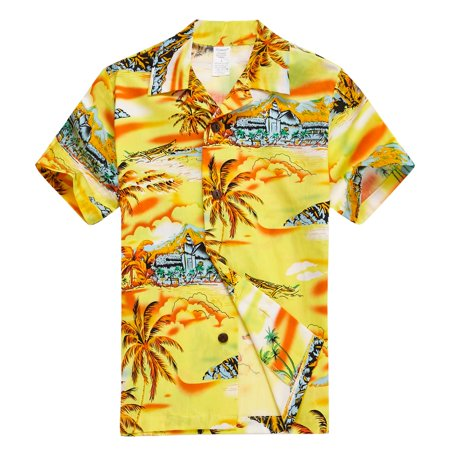 Young Adult Boy Hawaiian Aloha Luau Shirt Only in Yellow Map and Surfer 14 Year (Best Nightclubs In Hawaii)
