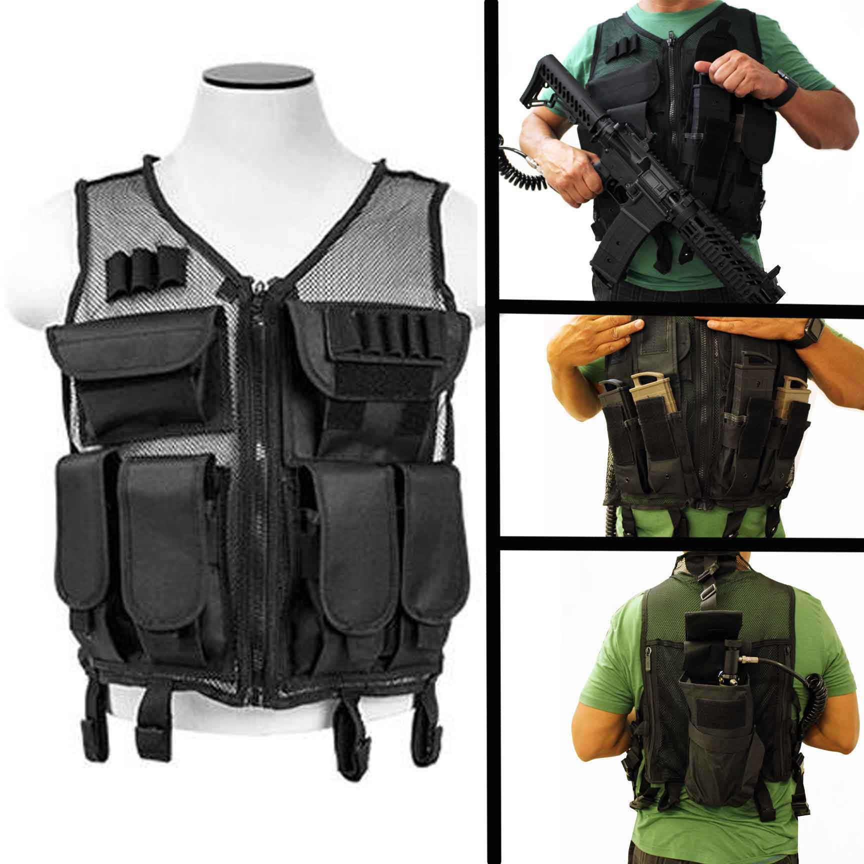 Paintball mesh vest Tippmann TMC Mag holder black. by Trinity