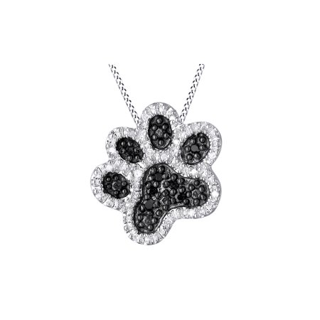 0.1 Ct Black & White Diamond Dog Paw Pendant Necklace in 14k White Gold Over Sterling Silver