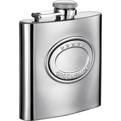 Visol 5 Stars Groomsman Embossed Stainless Steel 6-ounce Liquor Flask