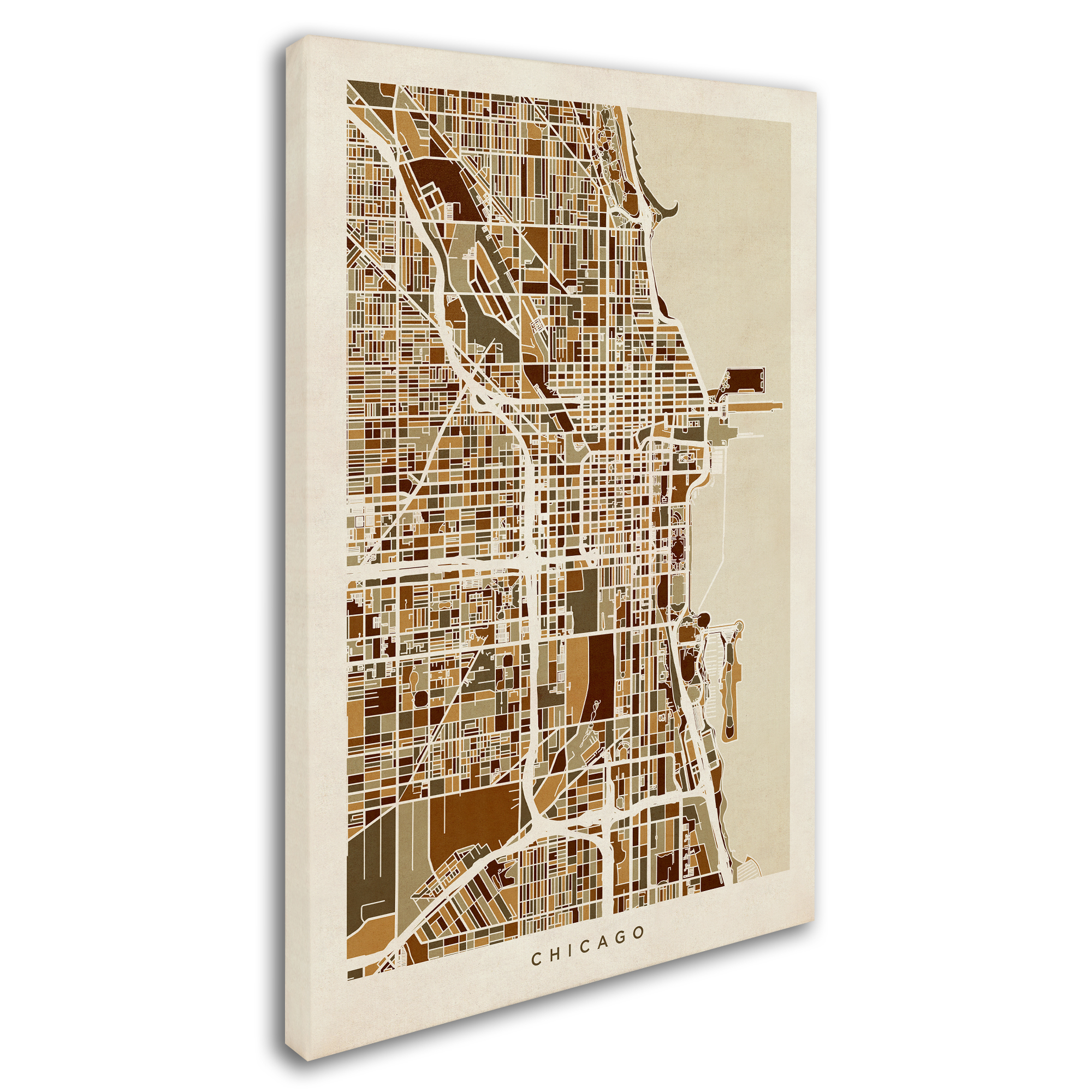 Chicago Map Canvas.Trademark Fine Art Chicago City Street Map Canvas Art By Michael