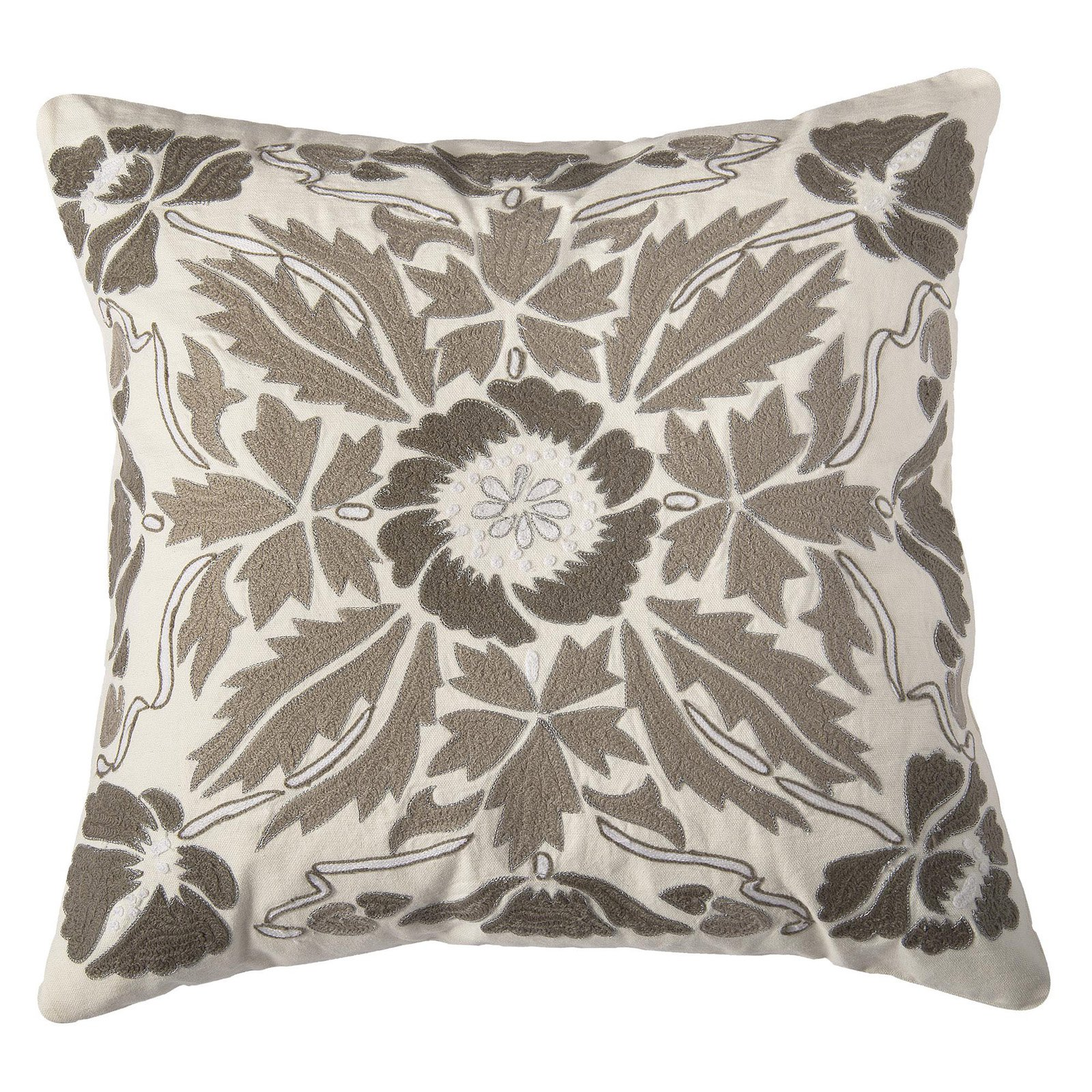 Rizzy Home Hand Applique Embroidery Decorative Leaf Design Throw Pillow