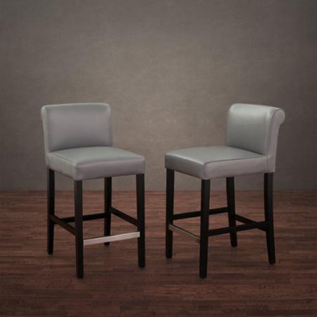 I Love Living Cosmopolitan Grey Leather Counter Stool Set