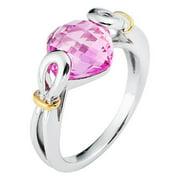 Boston Bay Diamonds  18k Yellow Gold and 925 Sterling Silver 9x9mm Cushion-cut Pink Sapphire Ring