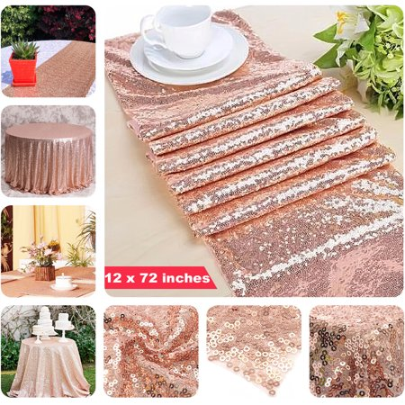 10 pcs 12 x 72 inches Sequin Sparkly Table Cloth Fabric Tablecloth Table Runner Wedding Event Banquet Decor Photography Background Backdrop Photo Studio Props (Rose Gold)