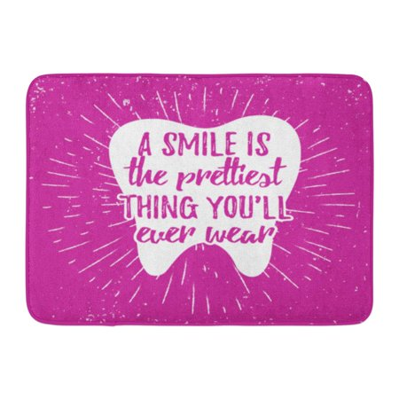 KDAGR Dental Care Motivational Quote Dentist Day Lettering on Tooth Shape and Sunburst Smile is The Prettiest Doormat Floor Rug Bath Mat 23.6x15.7 (Welcome Tooth)