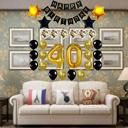 Decocheer 40th Birthday Decorations Gift For Men Women Party Supplies 40th Birthday Balloons Happy Birthday Banner 40 Gold Number Balloons Black And Gold Balloons Walmart Canada