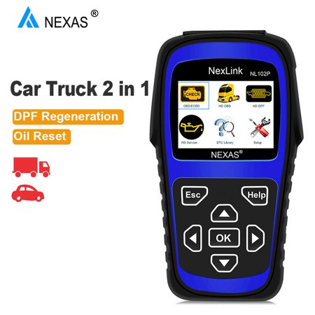Nexas NL102 Plus OBD2 Scanner 2 in 1 DPF Regeneration Oil Service Reset Sensor Reset for Diesel Heavy Duty Trucks Check Engine Light Code Reader Read & Erase Fault Codes OBD 2 Diagnostic Scan Tool
