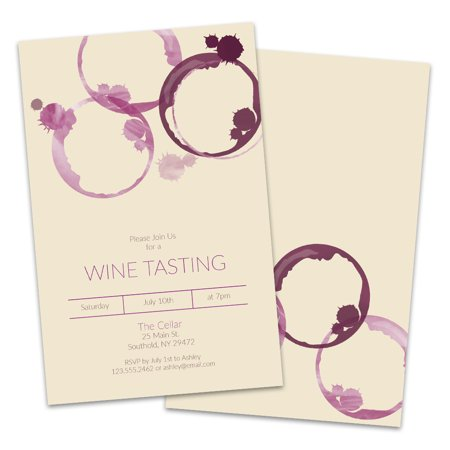 Personalized Wine Tasting Party Invitations (Wine Glass Invitations)