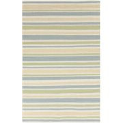 8' x 11' Pastel Striped Blue, White, Yellow and Green Woven Wool Area Throw Rug