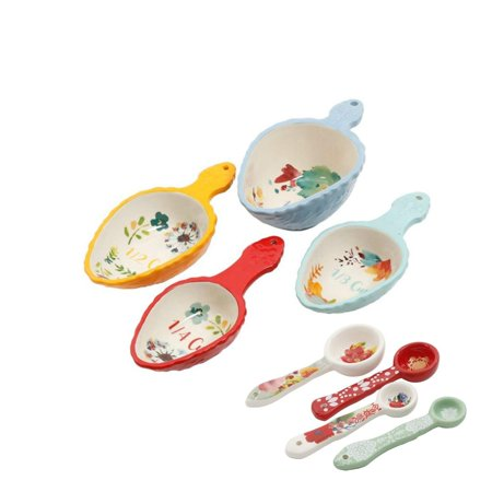 The Pioneer Woman 8 Piece Set - 4 Willow Measuring Scoops and 4 Winter Bouquet Measuring Spoons Ceramic Floral, 1 Cup 1/2 Cup 1/3 Cup 1/4 Cup 1/4 Teaspoon 1/3.., - Bouquet Scented Cup