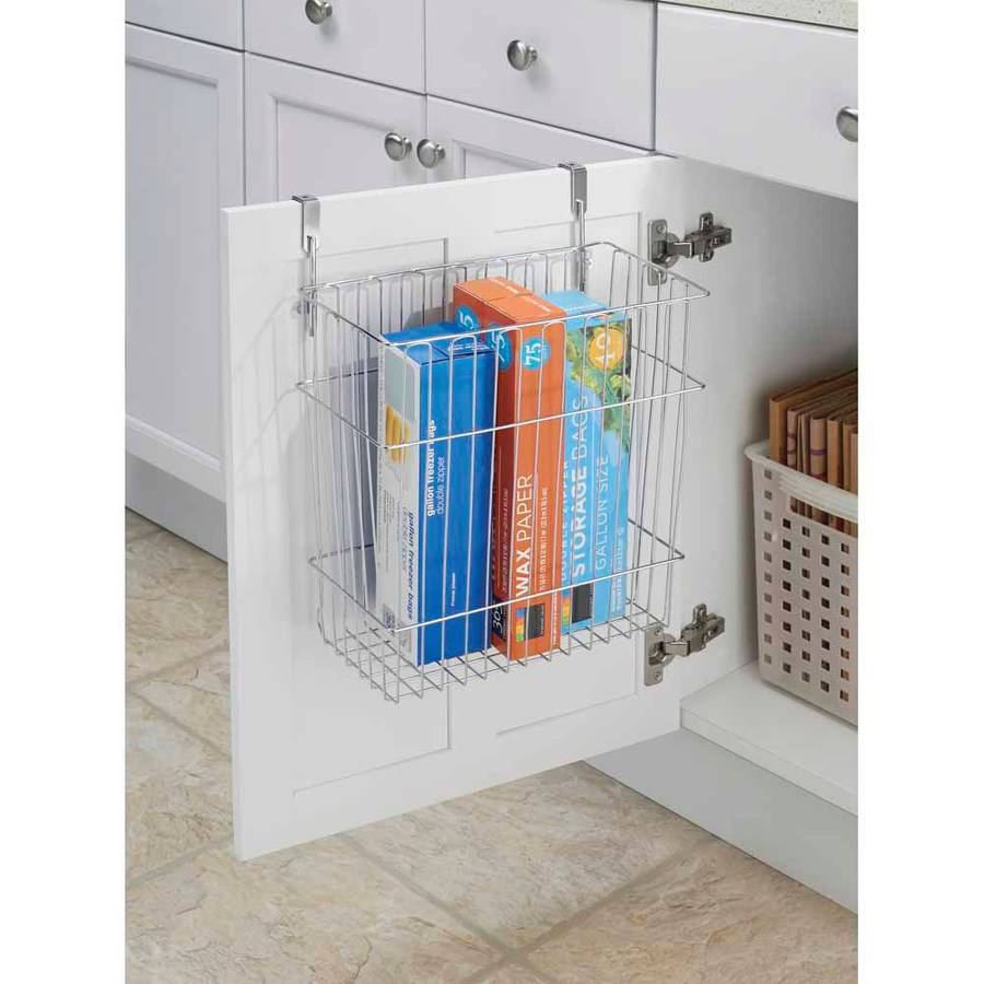 InterDesign Classico Over Cabinet Waste and Storage Basket, Chrome