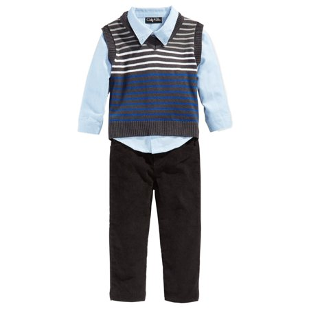 Only Kids Infant Boys 3 Piece Dress Up Outfit Pants Shirt & Striped Sweater Vest - Boys Sweater Vest