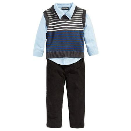 Only Kids Infant Boys 3 Piece Dress Up Outfit Pants Shirt & Striped Sweater Vest (Kids Boy Dress)