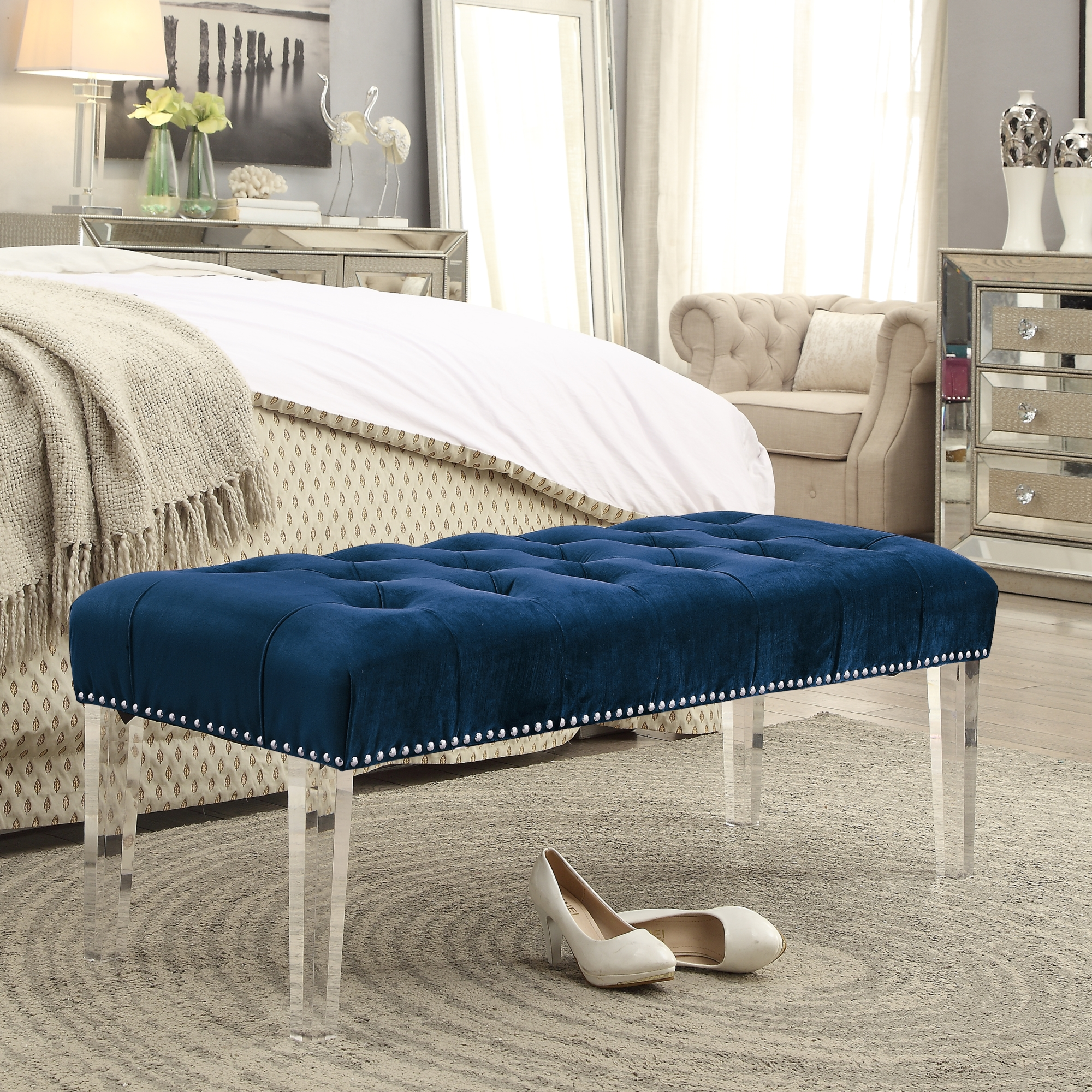 Eugene Grey Velvet Upholstered Bench - Acrylic Legs | Tufted | Nailhead | by Inspired Home