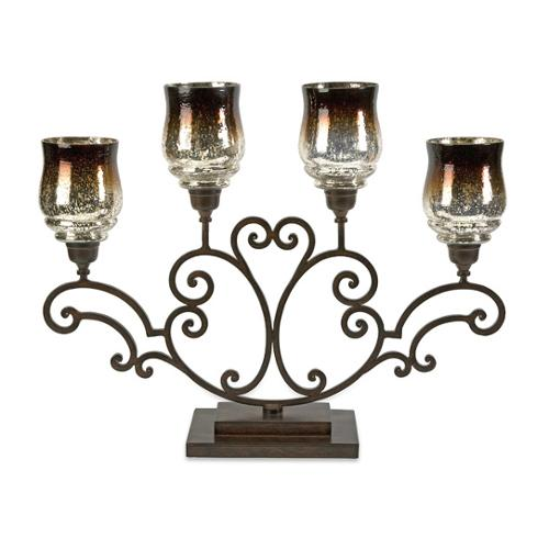 "28"" Gradient Brown Speckled Glass Hurricane Candelabra Pillar Candle Holder by CC Home Furnishings"