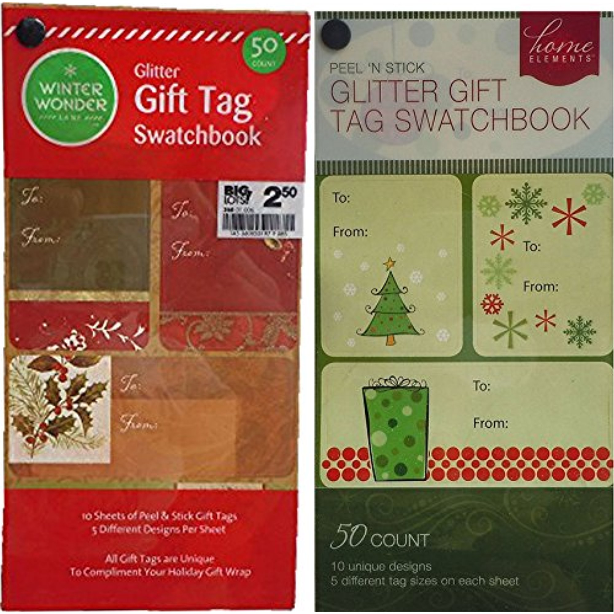 Foil and Glitter Christmas Gift Tags Swatchbooks Set of 2 (100)