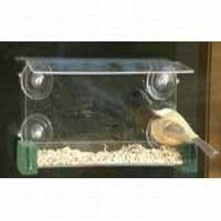 Songbird Essentials Open Diner Clear Window Mounted Bird Feeder with Perches. Large 2.5 Cup Size.