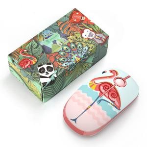 Optical Nano Receiver 2.4G Slim Wireless Mouse with Cute Flamingo Parrern for Notebook,PC,Latop,Computer,MS001(Flamingo)