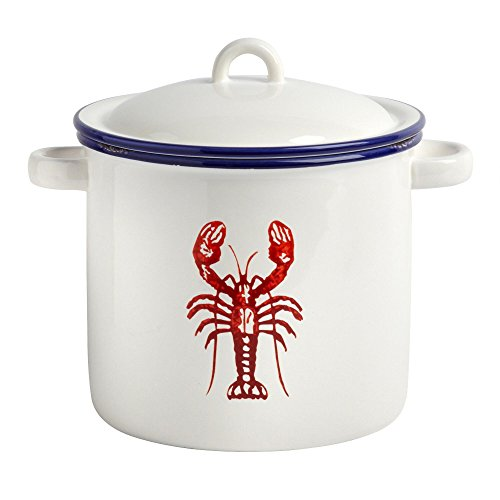 "Nantucket Home Ceramic Red Lobster Pot Kitchen Storage Jar (4.25""H)"