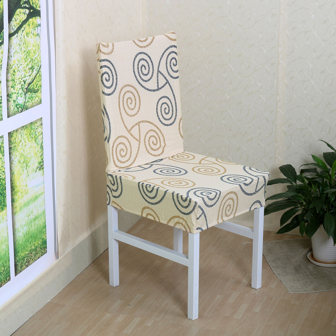 Unique Bargains Stretch Washable Short Dining Room Chair Cover  Protector Slipcover