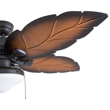 Prominence Home 50666 35 Delray Tropical 52 Inch Bronze Damp Rated Ceiling Fan Globe Mocha Blades