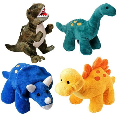 Prextex High Qulity Plush Dinosaurs 4 Pack 10'' Long Great Gift For Kids Stuffed Animal Assortment Great Christmas Gift Set for Kids - Dinosaur Animal Planet