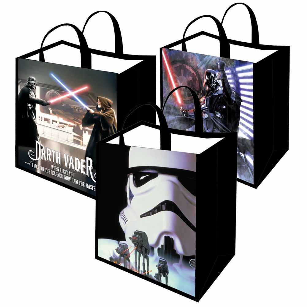 Unisex-Adult Star Wars Shopping Tote Bag - Set Of Three: Lightsaber, Stormtrooper, Obi Wan