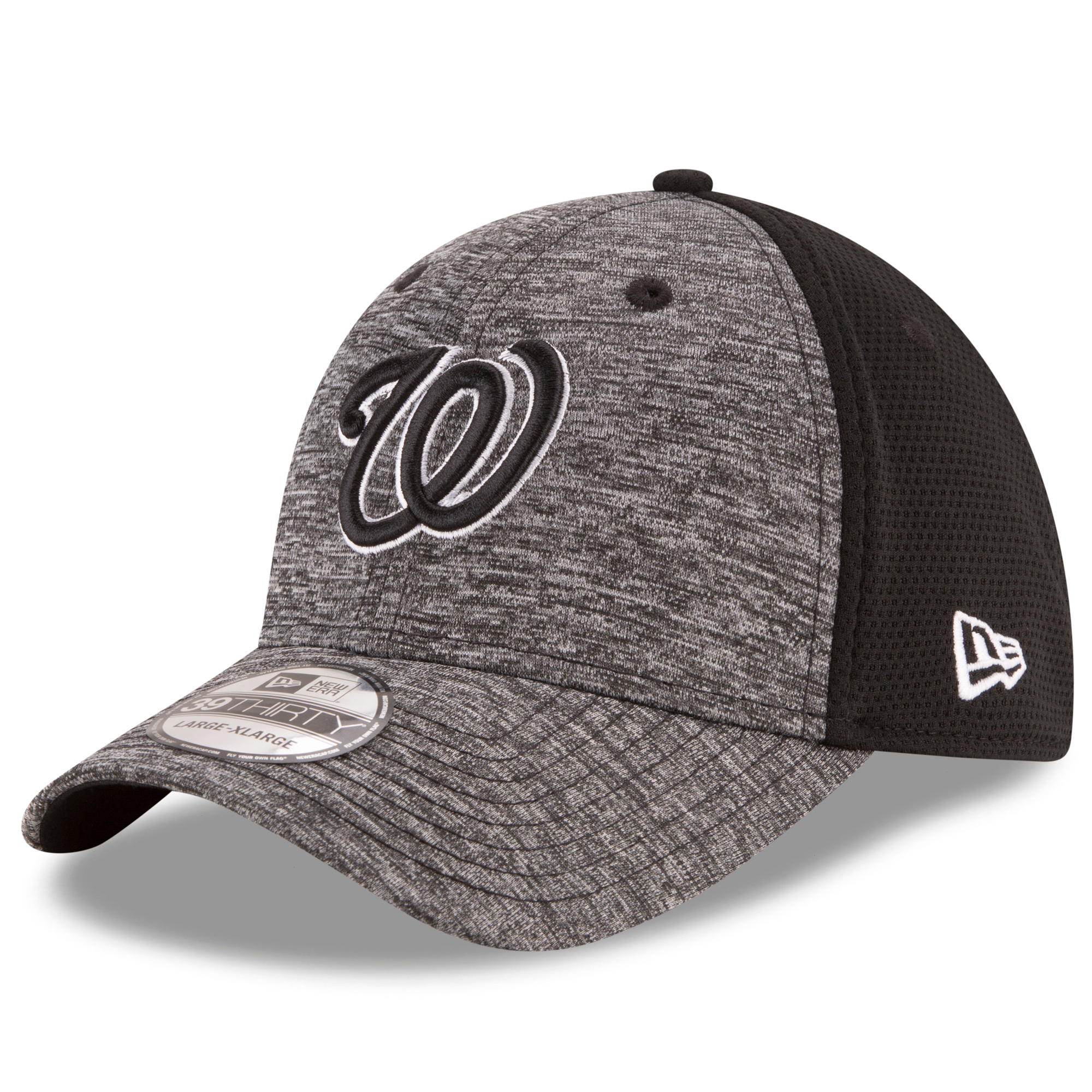 Washington Nationals New Era Black Shadowed Team 39THIRTY Flex Hat - Heather Grey, Black
