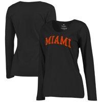 Miami Hurricanes Women's Basic Arch Long Sleeve T-Shirt - Black