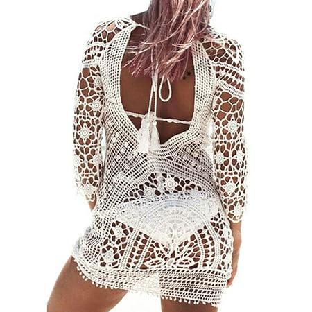 Sexy Swim Cover Ups For Women Beach Bikini Swimwear Floral Lace