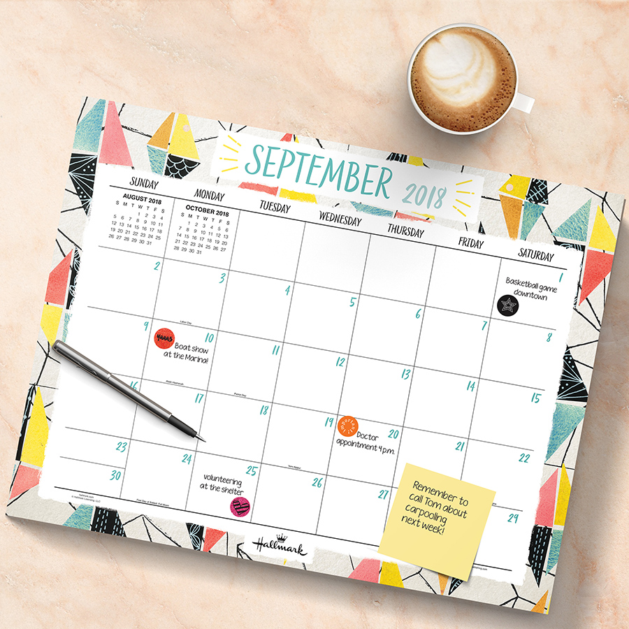 "2019 Abstract Art of Hallmark July 2018 June 2019 Academic Year 22""x17"" Desk Pad Calendar by TF Publishing"